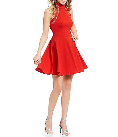 B. Darlin Mock Neck Crystal Inset Fit-and-Flare Dress