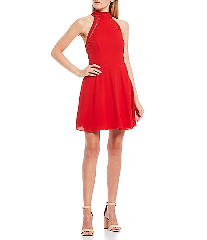 B. Darlin Mock Neck Ladder Trim Skater Dress