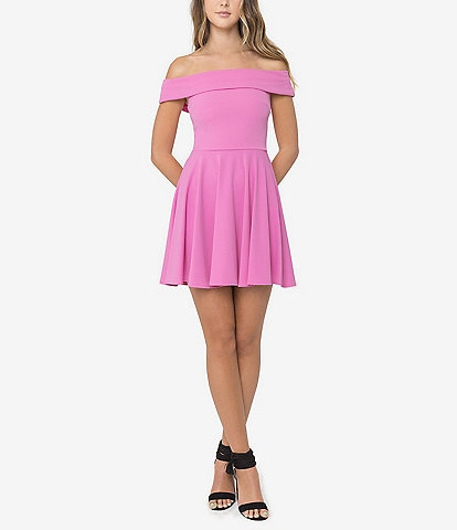 B. Darlin Off The Shoulder Cap Sleeve Fit-and-Flare Dress