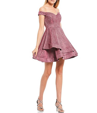 B. Darlin Off-The-Shoulder Cap-Sleeve Shine Double Hem Fit-and-Flare Dress