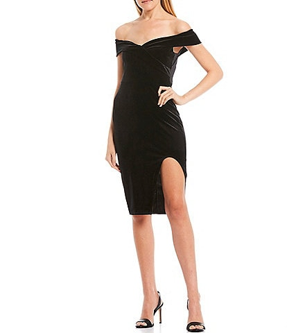 B. Darlin Off-The-Shoulder Cap-Sleeve Side Slit Velvet Midi Dress