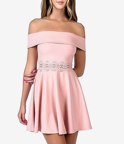 B. Darlin Off-The-Shoulder Crochet Waist Skater Dress
