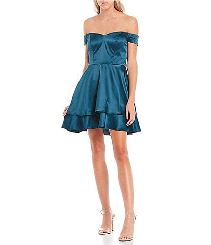 B. Darlin Off-the-Shoulder Double Hem Satin Fit-and-Flare Dress
