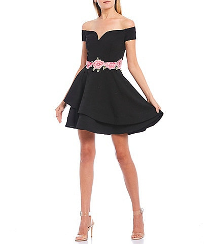 B. Darlin Off-the-Shoulder Embroidered Waist Double Hem Fit-and-Flare Dress