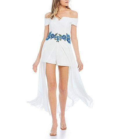 B. Darlin Off-The-Shoulder Floral Embroidered Waist Maxi-Romper