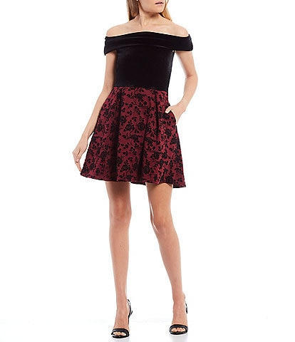 B. Darlin Off-The-Shoulder Floral Flocked Scuba Crepe Skater Dress