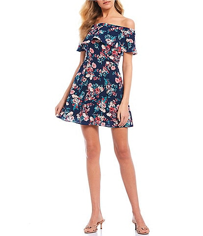 B. Darlin Off-The-Shoulder Flounce Floral Dress