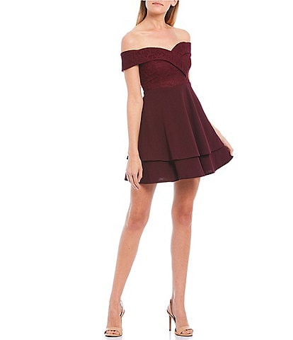 B. Darlin Off-The-Shoulder Lace Bodice Double Hem Fit-and-Flare Dress
