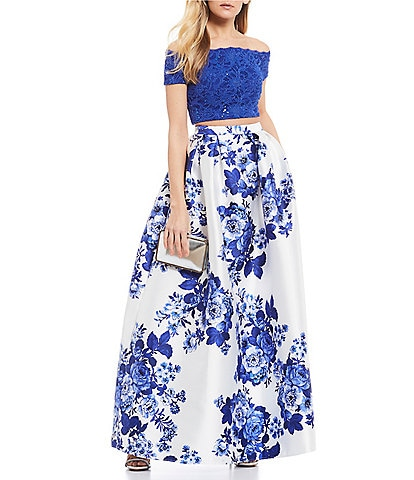 B. Darlin Off-The-Shoulder Lace Top with Floral Ballgown Two-Piece Dress