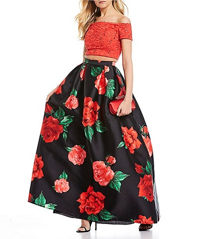 B. Darlin Off-The-Shoulder Lace Top with Floral Skirt Two-Piece Long Dress