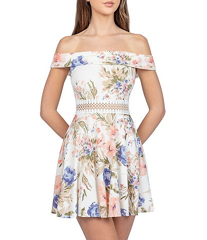 B. Darlin Off-The-Shoulder Lace-Trimmed Waist Floral Scuba Fit-And-Flare Dress