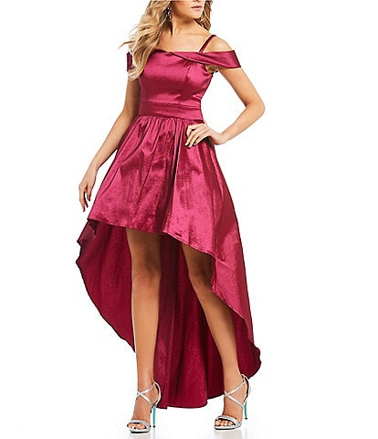 B. Darlin Off-The-Shoulder Long High-Low Dress