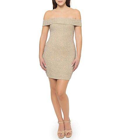 B. Darlin Off-The-Shoulder Lurex Slinky Knit Glitter Stretch Body Con Dress