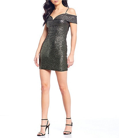 B. Darlin Off-The-Shoulder Metallic Foil Sheath Dress