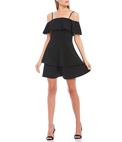 B. Darlin Off-The-Shoulder Pop-Over Skater Dress