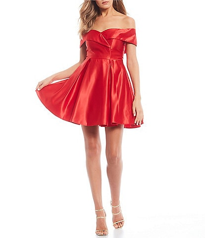 B. Darlin Off-the-Shoulder Satin Fit & Flare Dress