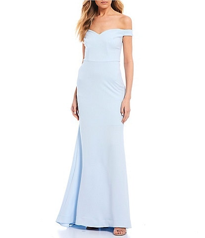 B. Darlin Off-The-Shoulder Scuba Crepe Long Dress