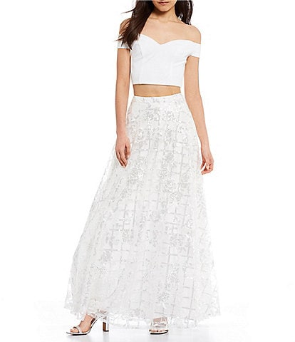 B. Darlin Off-The-Shoulder Top with Basket-Weave Sequin Skirt Two-Piece Dress