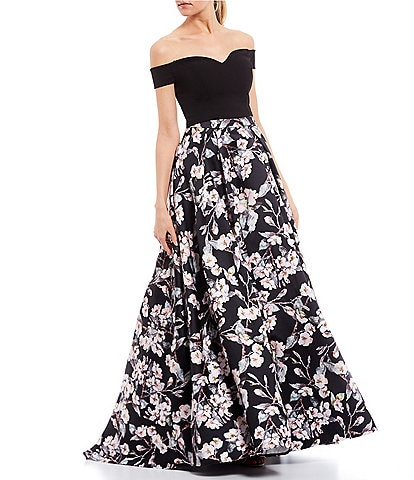 B. Darlin Off-The-Shoulder Top with Foiled Floral Skirt Two-Piece Ball Gown