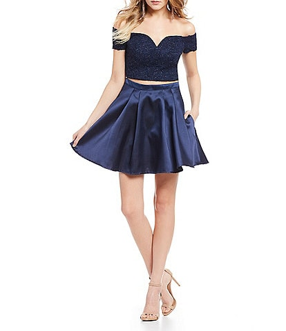 B. Darlin Off-The-Shoulder Top with Solid Skirt Two-Piece Dress