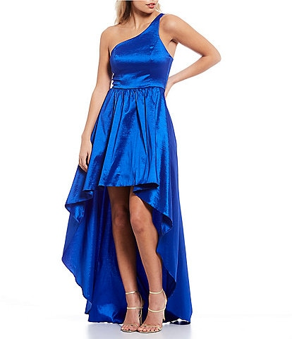 B. Darlin One-Shoulder Back-Strap Taffeta Long High-Low Dress