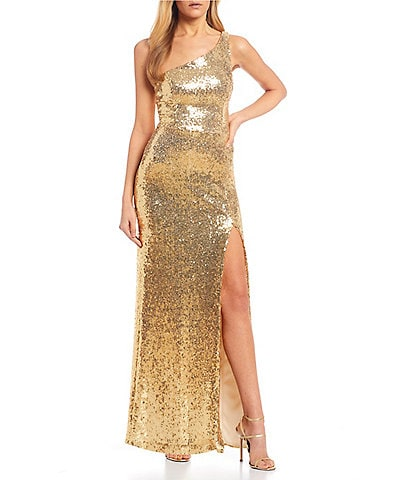 B. Darlin One Shoulder Side Slit Sequin Long Dress