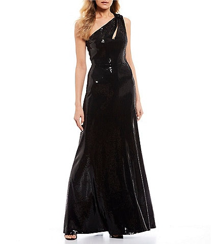 B. Darlin One-Shoulder Sequin Long Dress