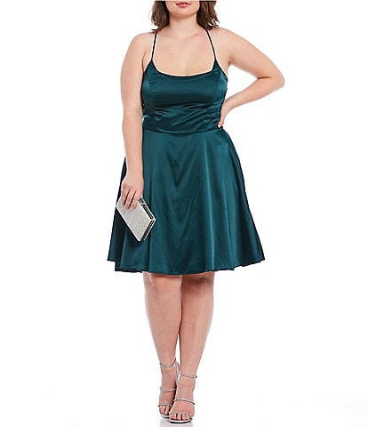 B. Darlin Plus Lace-Up Back Satin Fit-and-Flare Dress