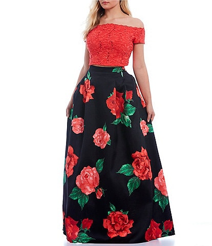 B. Darlin Plus Off-The-Shoulder Lace with Floral Skirt Two-Piece Ball Gown