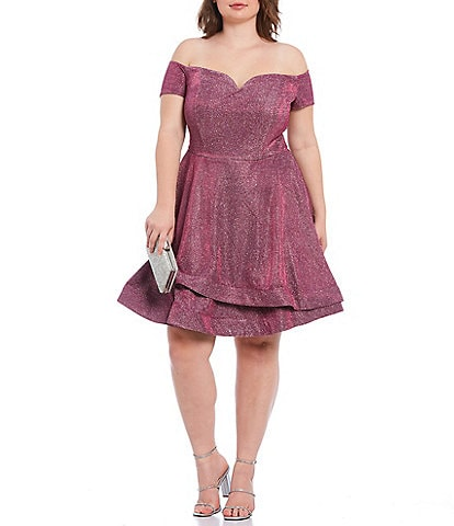 B. Darlin Plus Off-The-Shoulder Shine Double Hem Fit-and-Flare Dress