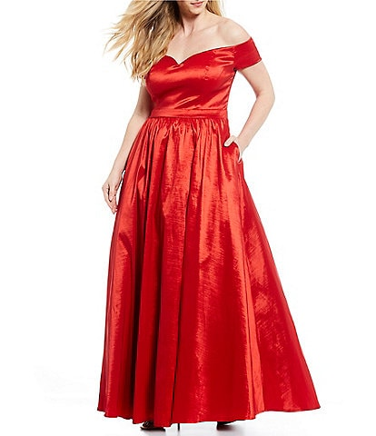 B. Darlin Plus Off-The-Shoulder Taffeta Ball Gown