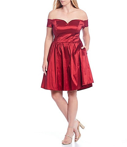 B. Darlin Plus Off-the-Shoulder Taffeta Fit & Flare Dress
