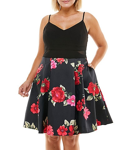 B. Darlin Plus Sleeveless Floral Skirt Fit-And-Flare Dress