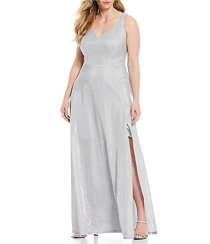 B. Darlin Plus Sleeveless Side Slit Shimmer Shine A-Line Long Dress