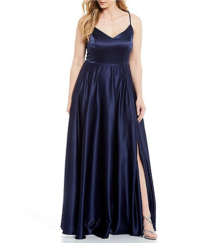 B. Darlin Plus Spaghetti Strap Side Slit Satin Long Dress