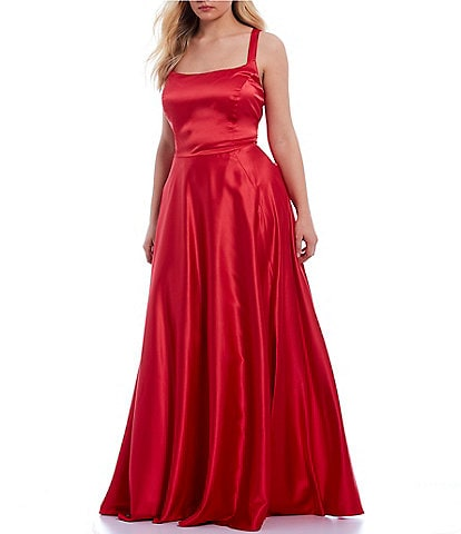 B. Darlin Plus Thick-Strap Square Neck Side Slit Satin Ball Gown