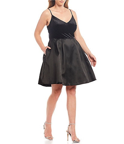 B. Darlin Plus Velvet Bodice Fit & Flare Dress