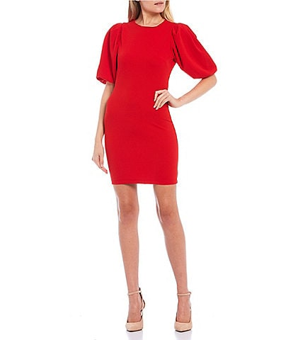 B. Darlin Puff Sleeve Scuba Crepe Sheath Dress