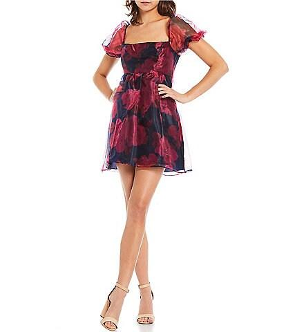 B. Darlin Puff Sleeve Square Neck Floral Print Organza Babydoll Dress