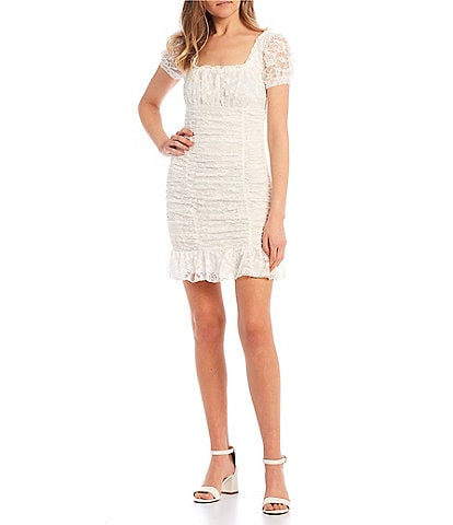 B. Darlin Puff Sleeve Square-Neck Ruched Lace Dress