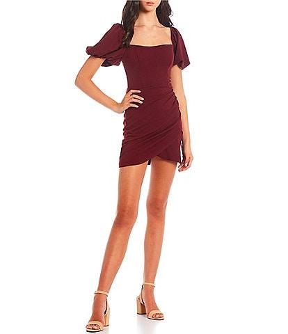 B. Darlin Square Neck Puffed-Sleeve Faux-Wrap Tulip Hem Scuba Crepe Dress