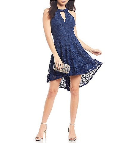 B. Darlin Scalloped-Neck Lace High-Low Dress