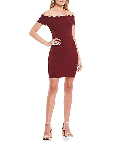 B. Darlin Scalloped Off-the-Shoulder Cap-Sleeve Bodycon Dress
