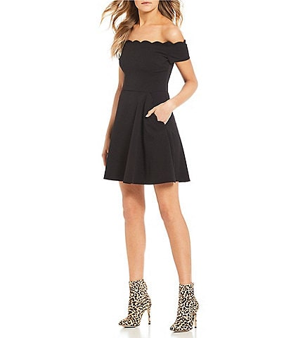 b28162b1baaed B. Darlin Scalloped Off-The-Shoulder Fit-And-Flare Dress