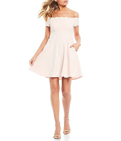 2859e14e392 B. Darlin Scalloped Off-The-Shoulder Fit-And-Flare Dress