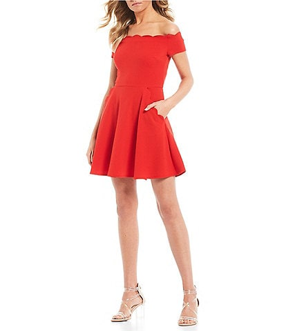 de6368d4c7 B. Darlin Scalloped Off-The-Shoulder Fit-And-Flare Dress