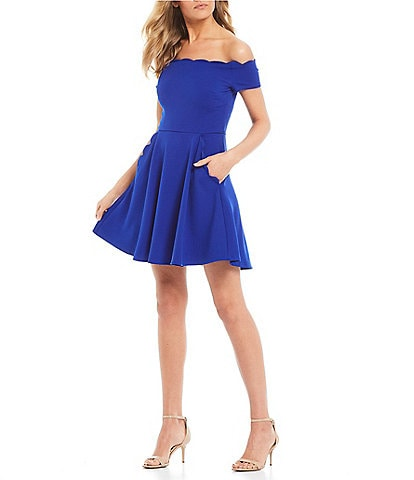 B. Darlin Scalloped Off-The-Shoulder Fit-And-Flare Dress