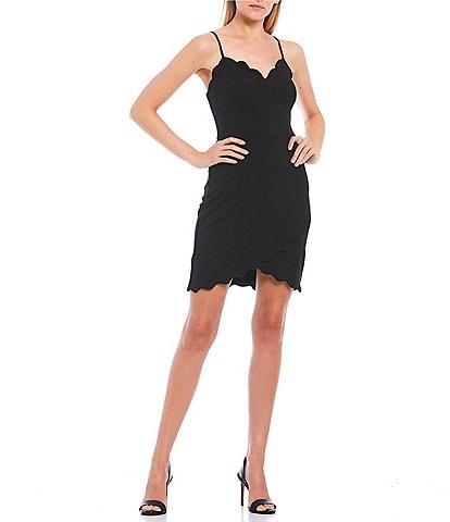 B. Darlin Scalloped V-Neck Faux-Wrap Hem Dress