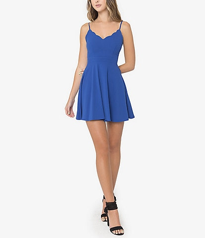 B. Darlin Scalloped V-Neck Fit-And-Flare Dress