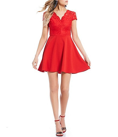 Red Juniors Lace Dresses Dillards